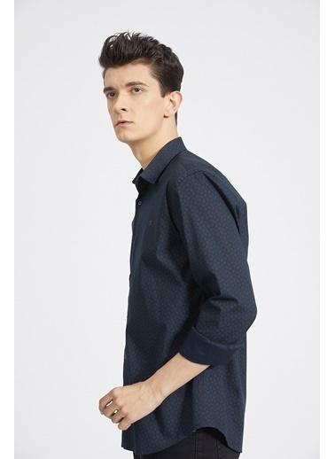 Avva Erkek  Baskılı Alttan Britli Gömlek A02Y2155 Lacivert